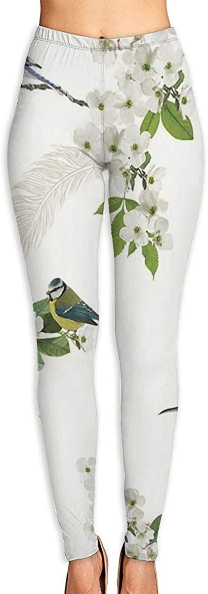 Girl Yoga Pants Leggings Birds White Running Workout Over The Heel Long Trousers Shapewear Gym