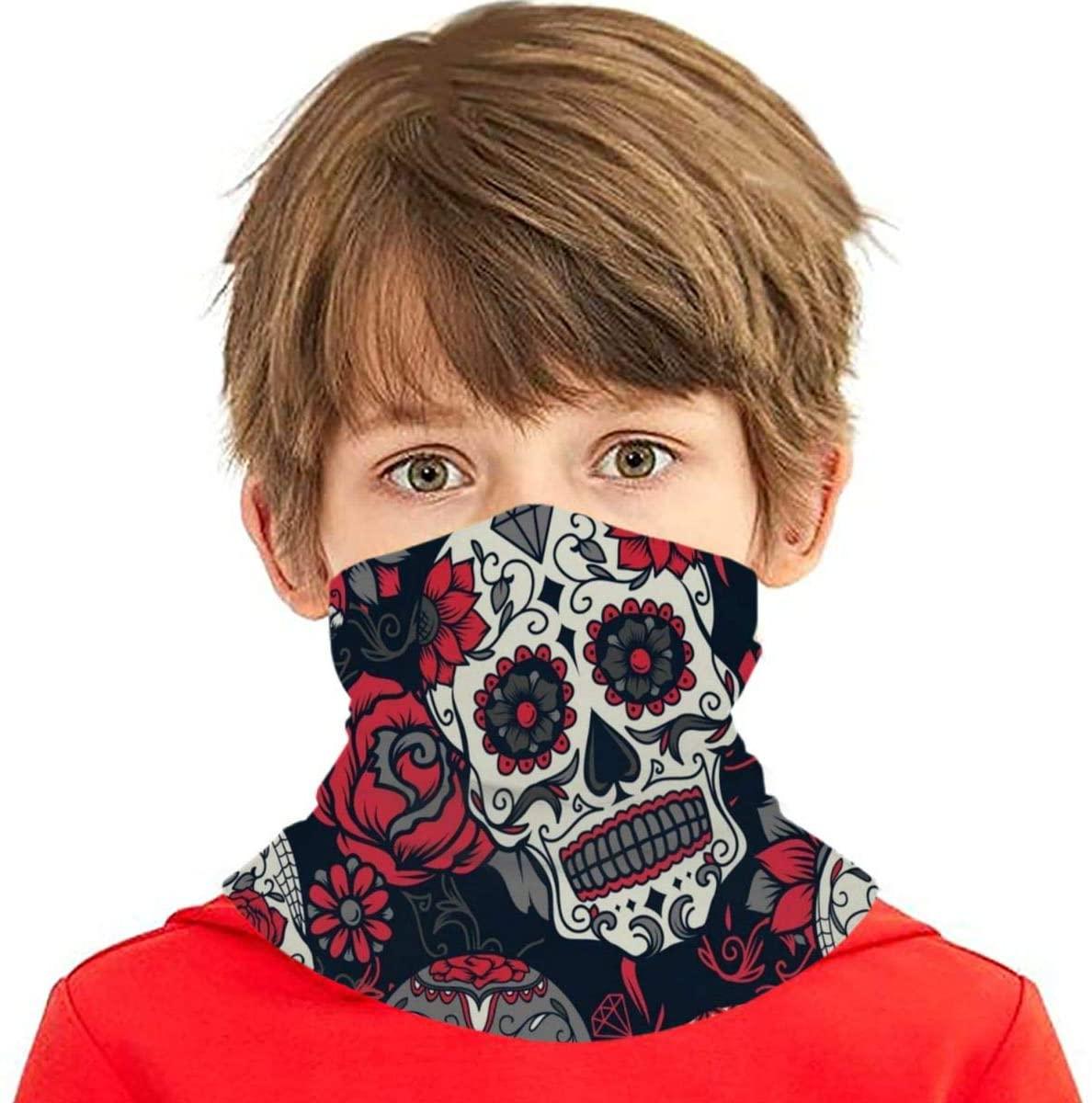 N\ A Cool Fire Skull Spooky Happy Halloween Kids Face Mask Uv Sun UPF Mask Dust Wind Neck Gaiter Cooling Ice Silk Bandana Boys Girls Cloth Reusable Washable