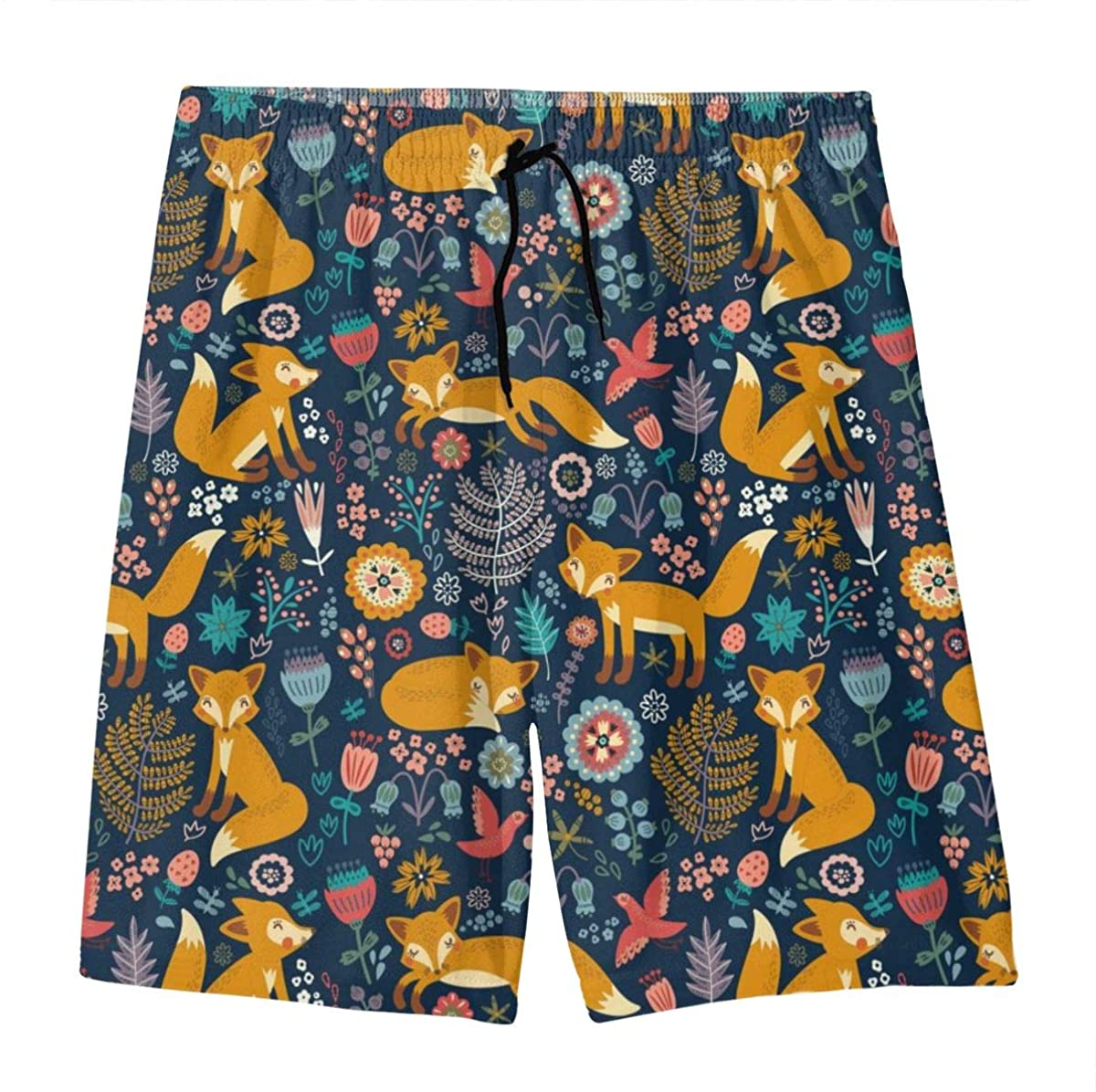 Fox Floral Pattern Teens Swim Trunks Beach Shorts Surfing Board Quick Dry Bathing Suit