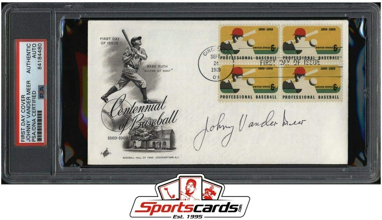 Johnny Vander Meer Signed First Day Cover Issue MLB Baseball Reds - PSA/DNA Certified - MLB Cut Signatures