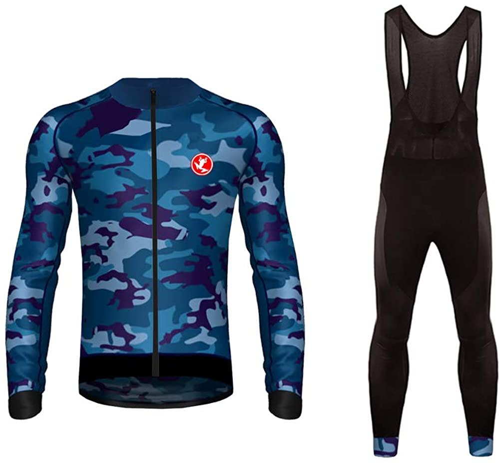 Uglyfrog Long Sleeve Cycling Jersey + Bib Tight Sets with Gel Pad Men's Clothing