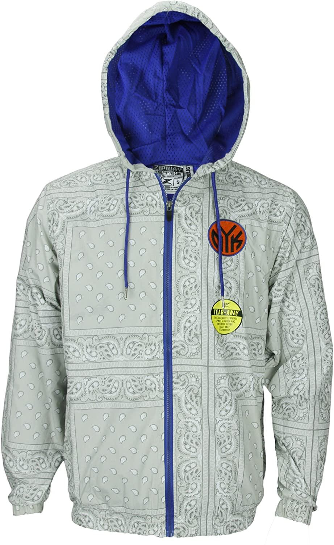 New York Knicks NBA Mens Windbreaker Jacket, Paisley Grey