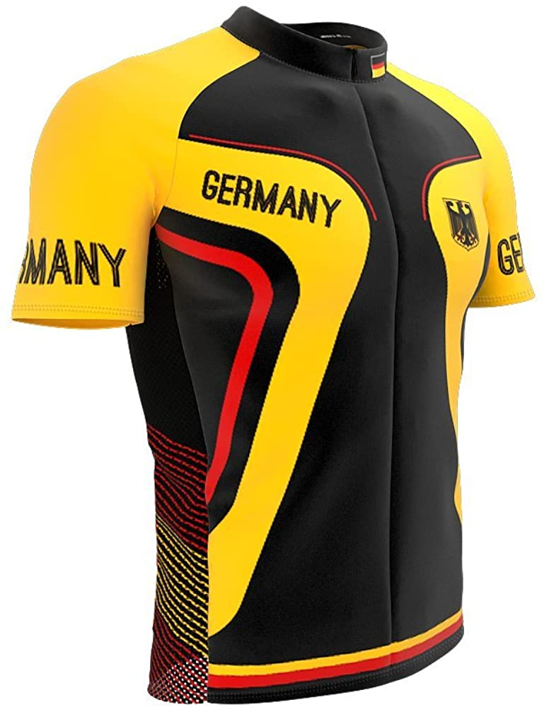 ScudoPro Germany Full Zipper Bike Short Sleeve Cycling Jersey for Men