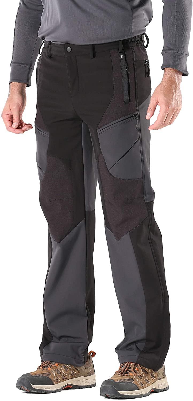 KORAMAN Men's Insulated Outdoor Windproof Hiking Pants Softshell Warm Fleece Mountain Ski Pants