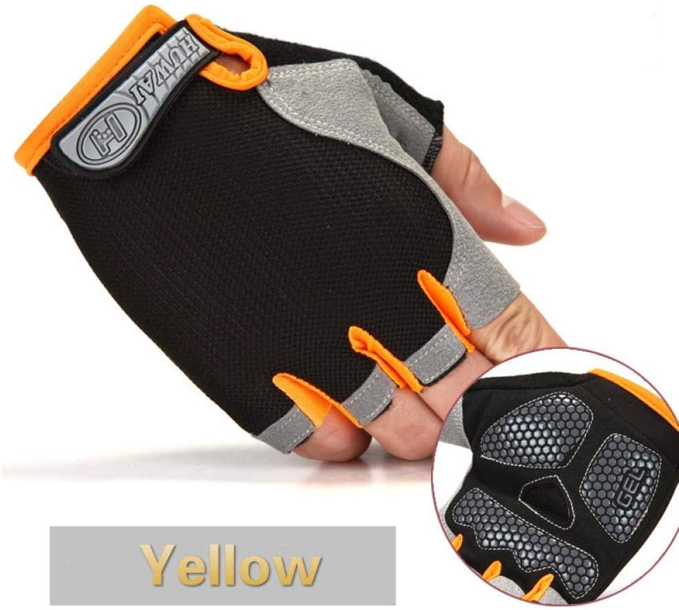 Lawaia Cycling Gloves Men/Women39;s Mountain Biking Fishing Gloves Half Finger Gloves Anti-Slip Shock-Absorbing Gel Pad Breathable, Yellow,M