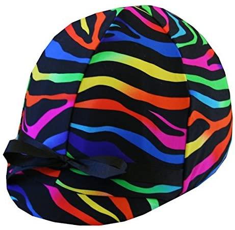 Equestrian Riding Helmet Cover - Neon Zebra