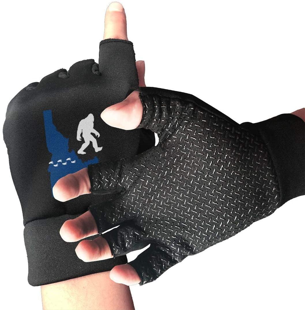 Game Life Idaho State Bigfoot Anti-Skid Gloves Half Finger Short Gloves Outdoor Sports Riding Gloves