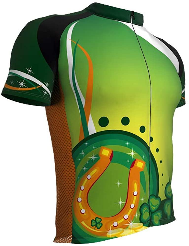ScudoPro St. Patrick's Day Horse Shoe Full Zipper Bike Short Sleeve Cycling Jersey for Men