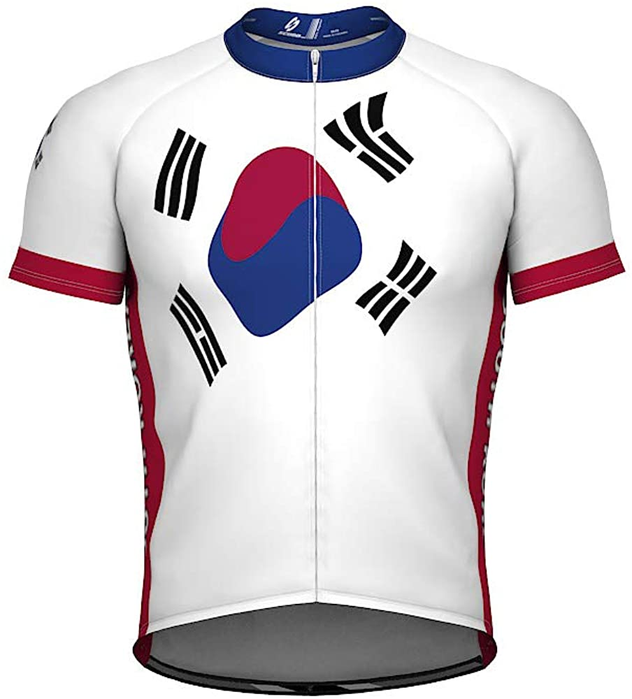 South Korea Emblem Full Zipper Bike Short Sleeve Cycling Jersey for Women