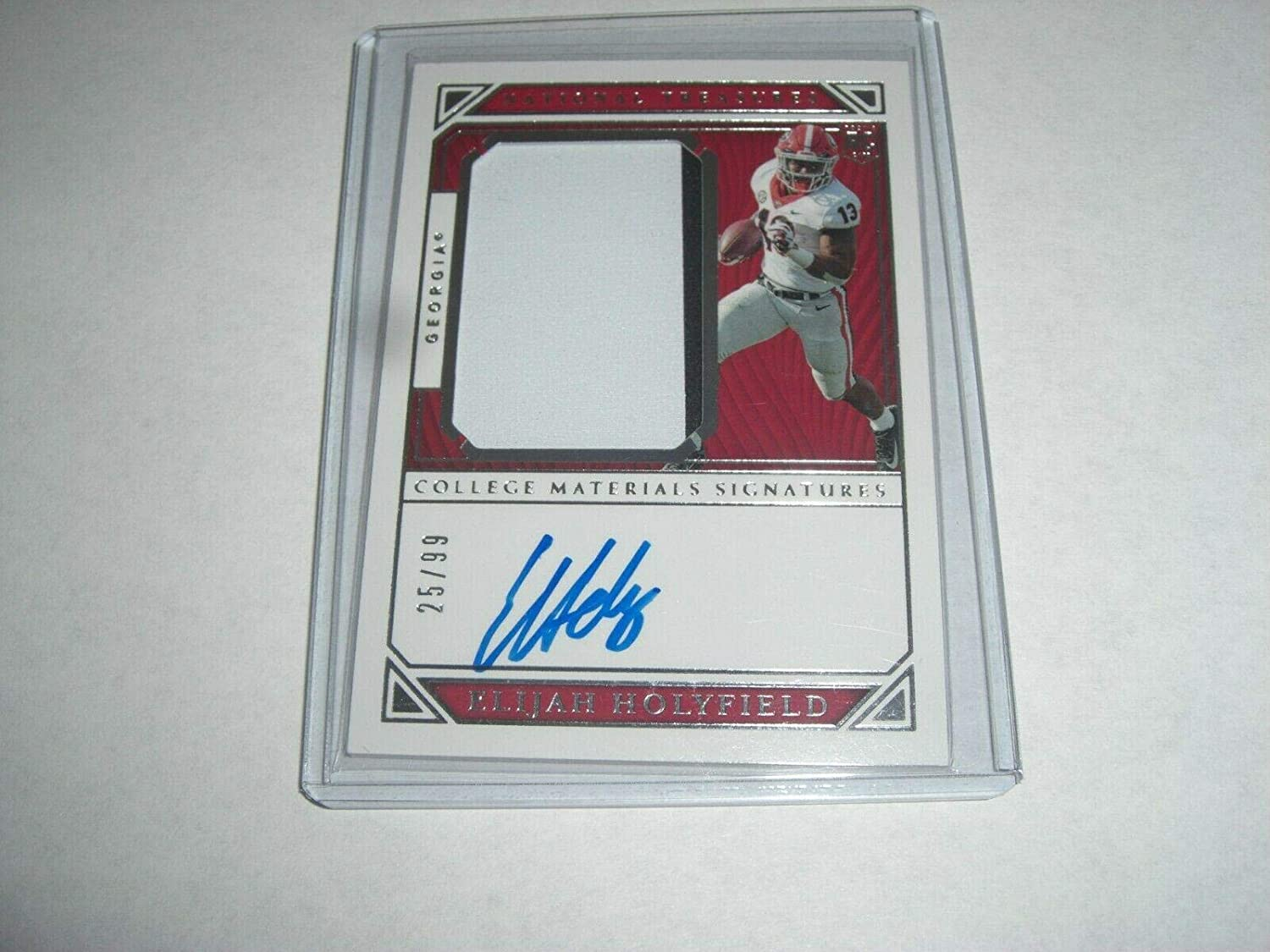 Elijah Holyfield 2019 National Treasures Game Used Jersey Auto 25/99 Signed Card - College Game Used Jerseys