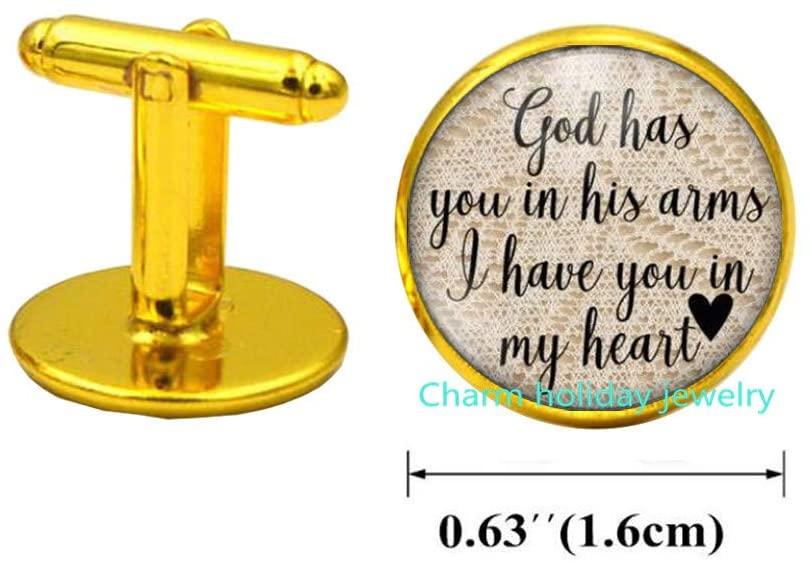 Charm holiday jewelry Memory Cufflinks-Memorial Cufflinks-Dad Memorial-Mom Memorial-Memorial-Memory Cufflinks-in Memory of-Lost Loved Ones-#13
