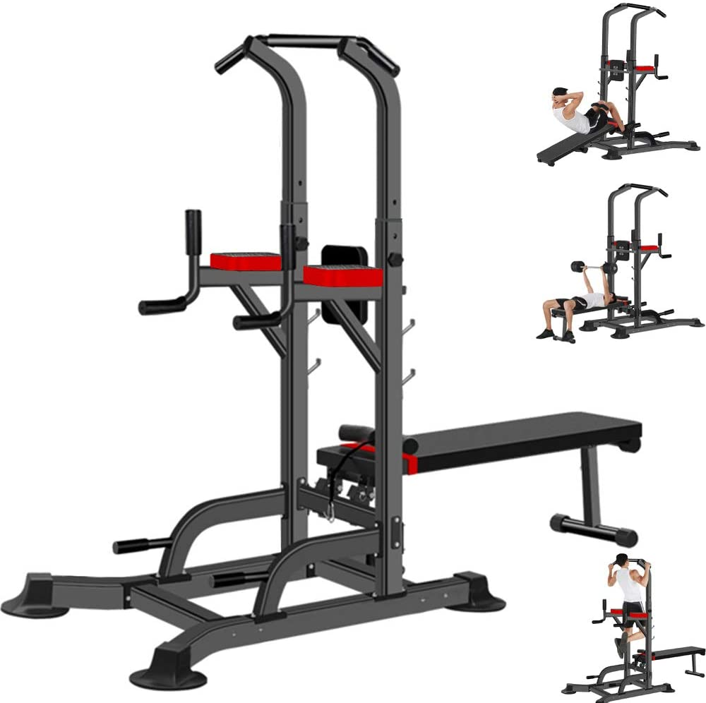 Multi-Function Power Tower Dumbbell Sit Up Bench, Adjustable Pull Up Tower Dip Station Fitness Equipment Home Gym (Max Weight Capacity: 330lb, Product Size: 220 x 74 x 235cm / 88 x 29.6 x 94in)