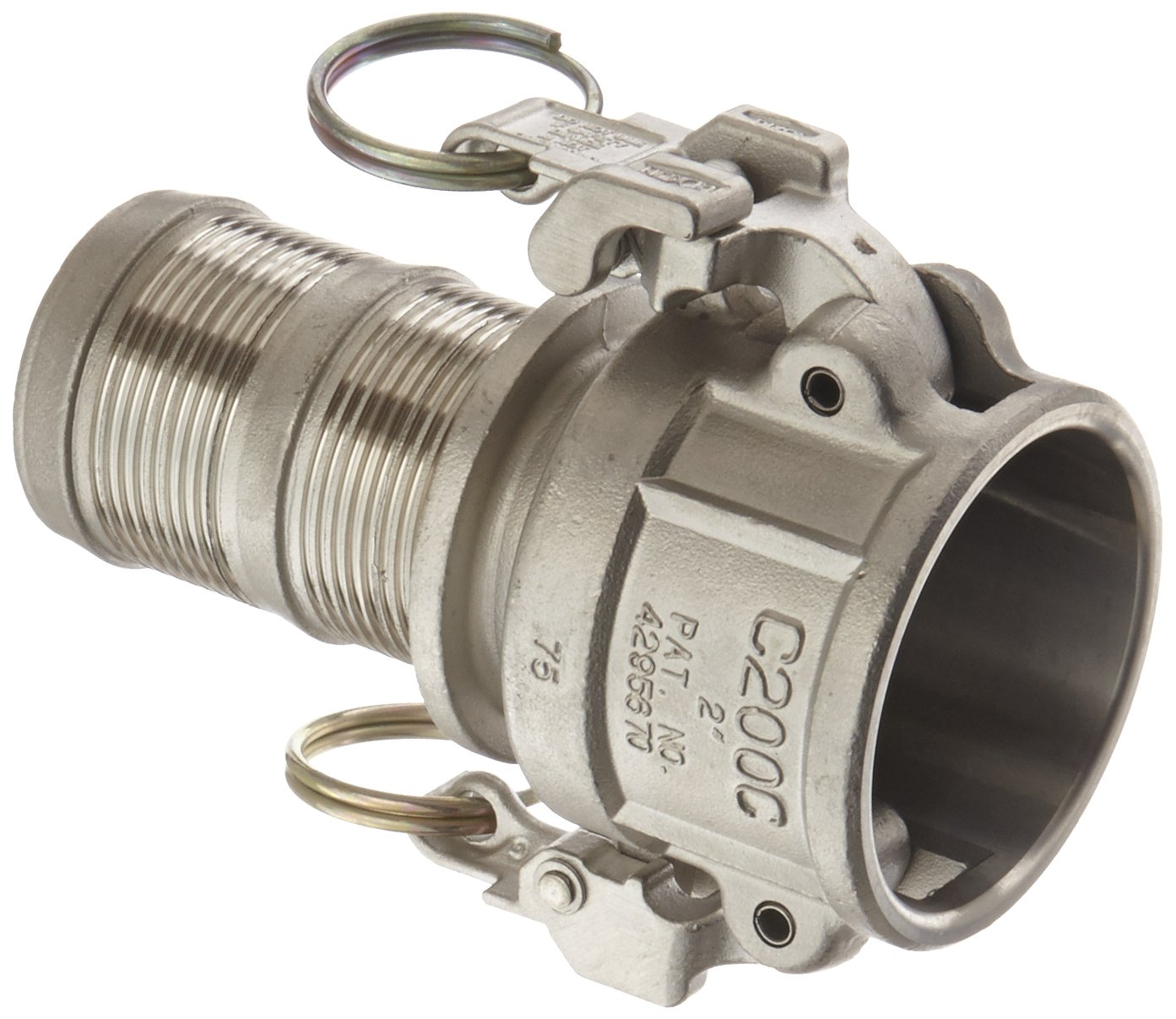 Dixon RC200EZPF Stainless Steel 316 EZ Boss-Lock PF Type C Cam and Groove Hose Fitting, 2 Socket x 2 Hose ID Barbed