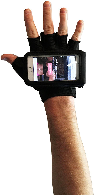 Knuckle Grip Cross Training Gloves w/Phone Case Black