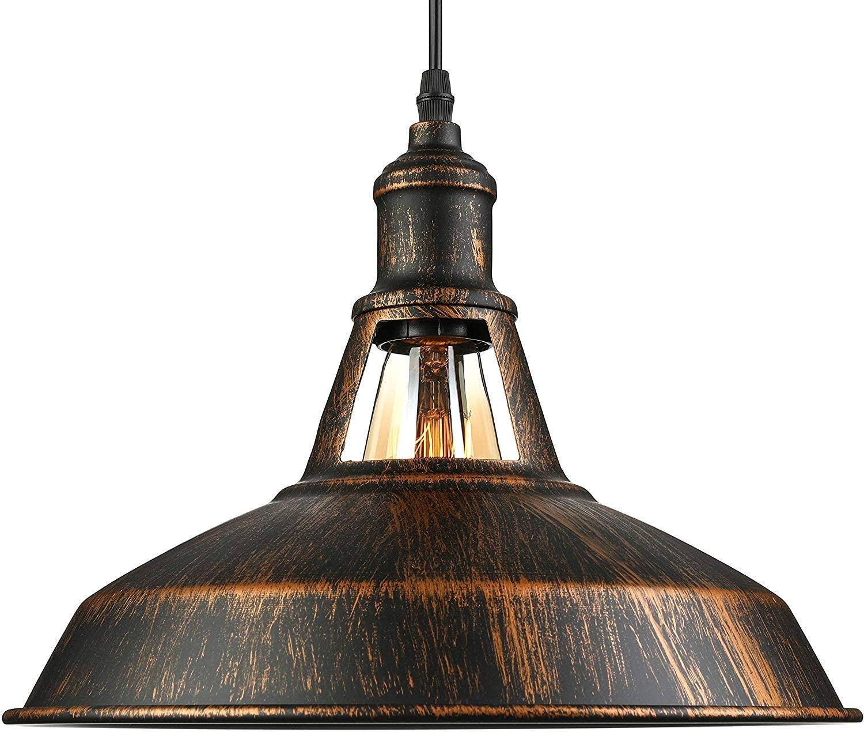 Hame Suspension Chandelier Lampshade Industrial Retro Metal Lamp E27 Lighting Decorative -Cuivre Jaune