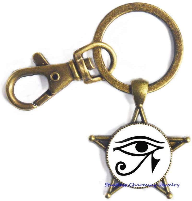 Eye of Horus Egyptian Keychain Glass Tile Jewelry Eye of Horus Keychain Eye of Horus Jewelry Egyptian Jewelry,Men's Keychain, Ancient Egyptian Symbol of Protection Charm-JV179