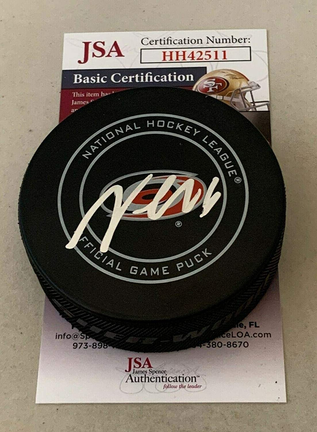 Martin Necas Autographed Puck - Official Canes - JSA Certified - Autographed NHL Pucks