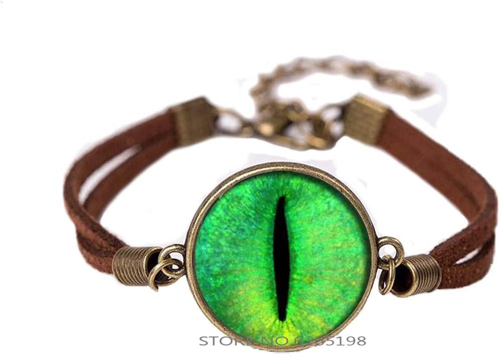 Handmade Green Cats Eye Bracelet, Cats Eye Bangle Gift for Her Him, nekel Free Jewelry,Minimalist Bracelet,N129
