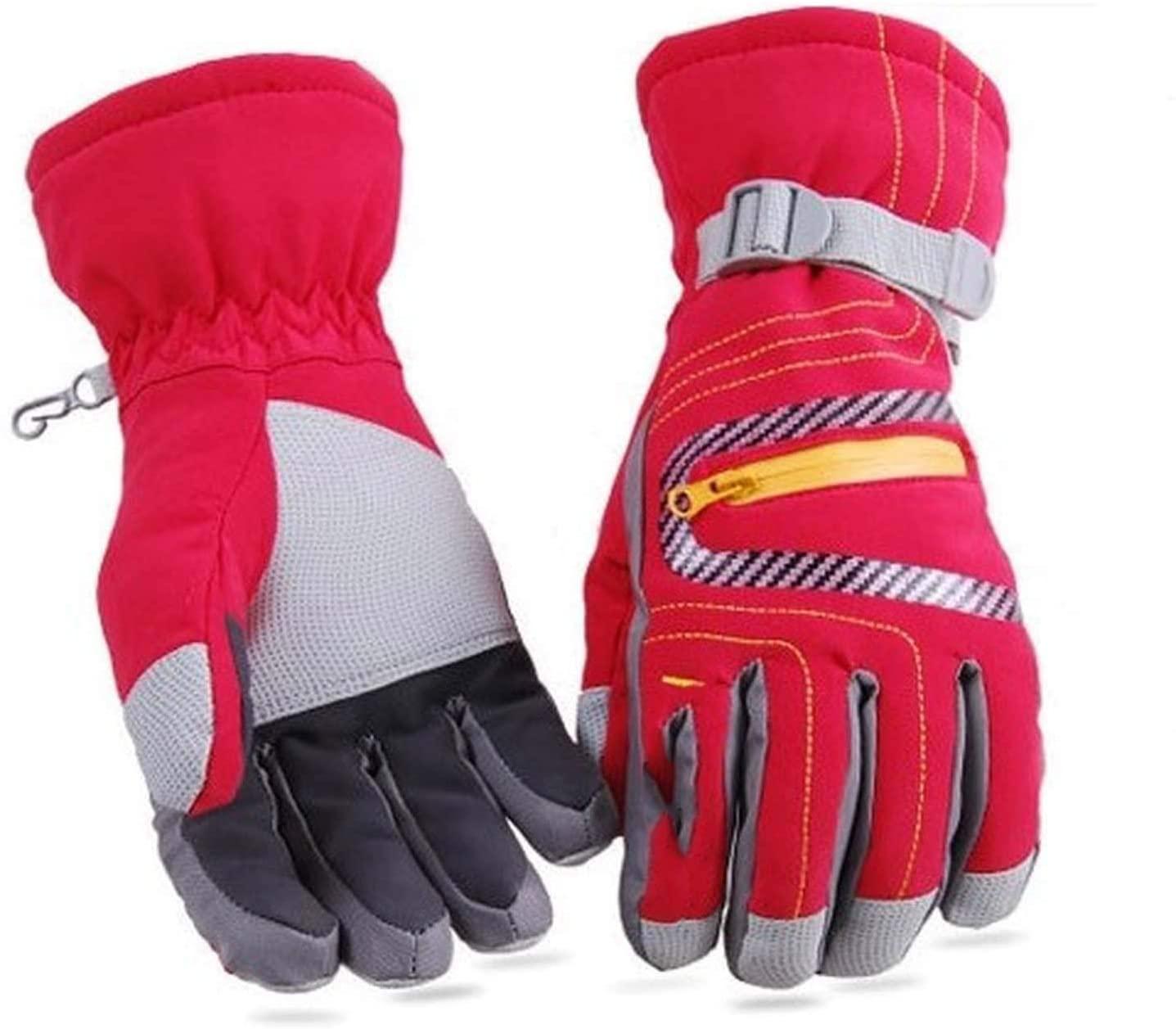 YR5V4V Ski Gloves Waterproof Thermal Heated Gloves Snowboard Snowmobile Gloves Men Women Gloves Snowboarding Skiing Gloves,Red,XL