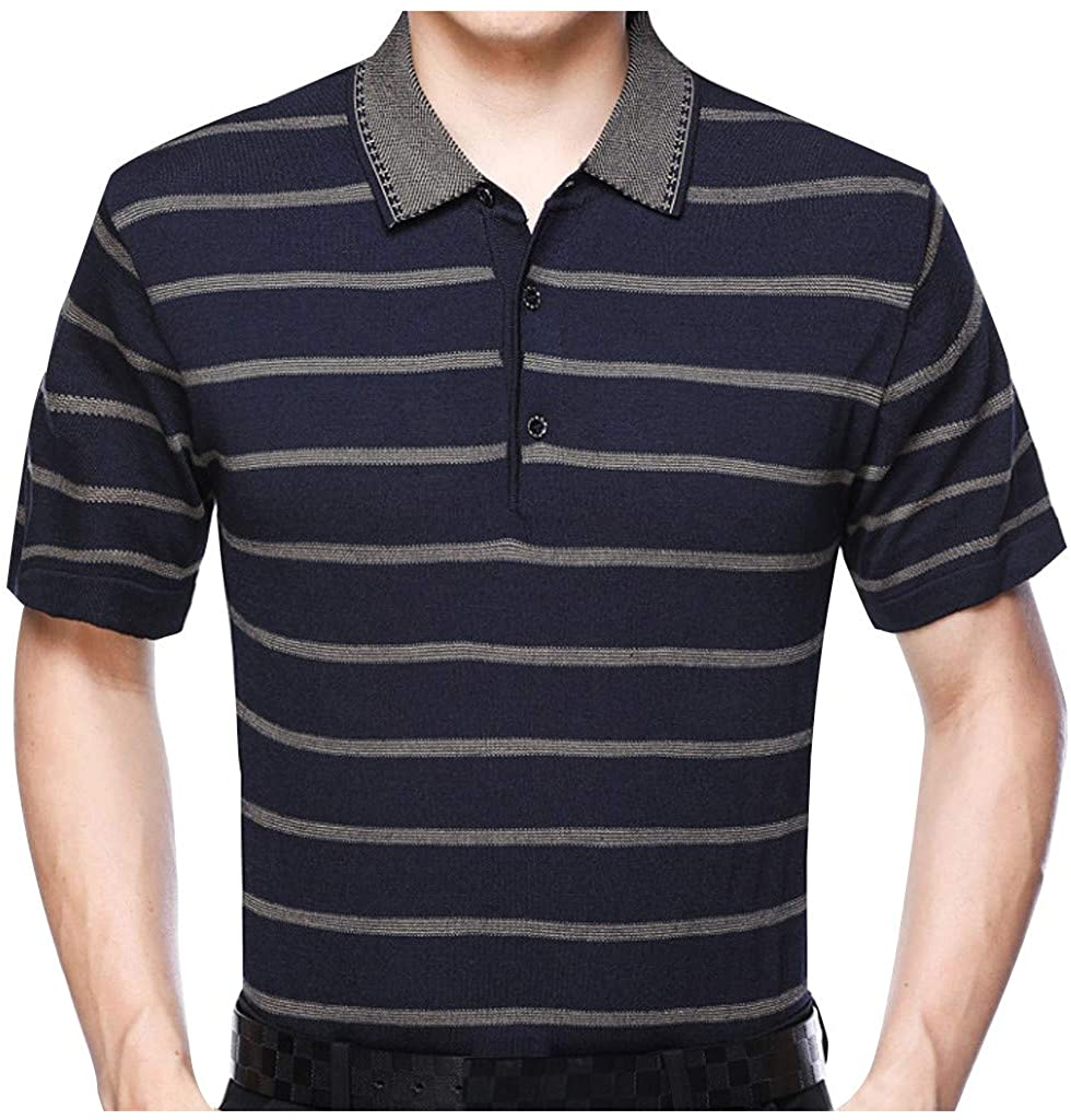 Ackful Men's Summer Striped Stitching Casual Slim Fit Lapel Short Sleeves