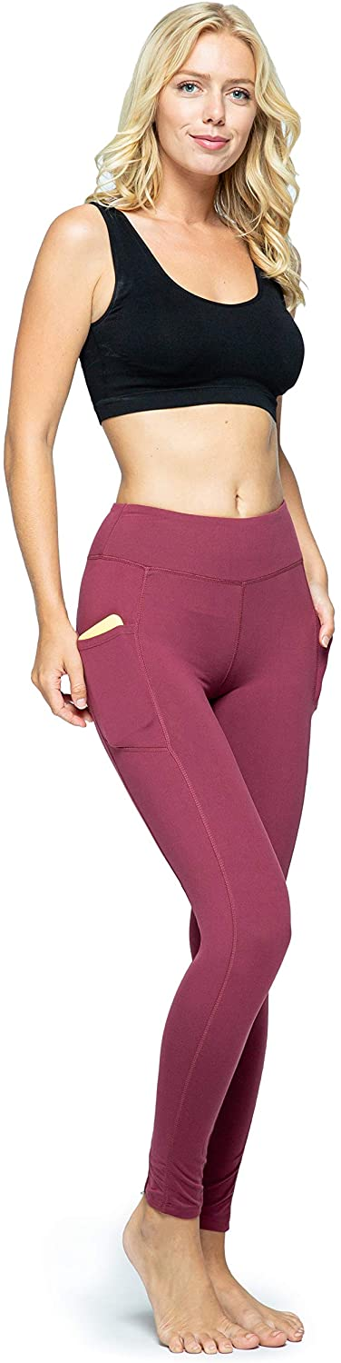 OCOMMO Leggings with Pockets for Women, Tummy Control High Waisted Womens Yoga Leggings Maroon