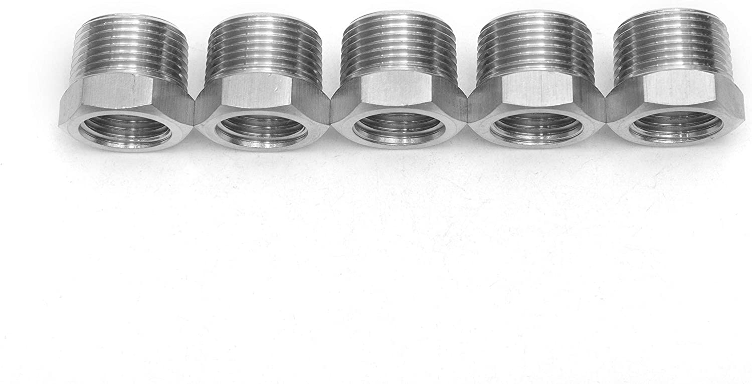LTWFITTING Bar Production Stainless Steel 316 Pipe Hex Bushing Reducer Fittings 3/4 Male x 1/2 Female NPT Fuel Water Boat (Pack of 5)