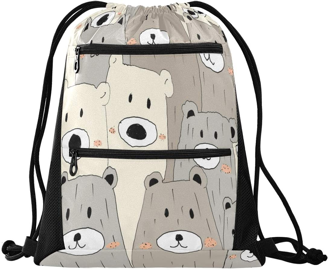 N\ A Drawstring Backpack Bag for Men Women with Pockets for Teen Boys Girls Halloween Cute Ghosts Seamless Pattern