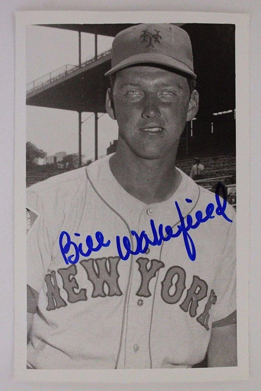 BILL WAKEFIELD 1964 NEW YORK METS Autographed Signed 3x5 Postcard 16F - MLB Cut Signatures