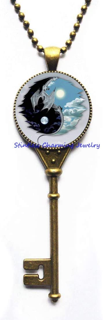 stintless charming Jewelry Dragon Yin-Yang Pendant Astrology Key Necklace Jewelery Charm Pendant for Him or Her,Art Glass Dome Pendant,Bridesmaid Gift Birthday gift-JV207