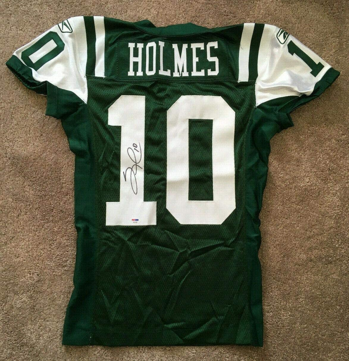 Santonio Holmes signed Game Issued Jets #10 Jersey Autograph rare COA - PSA/DNA Certified - Autographed NFL Jerseys