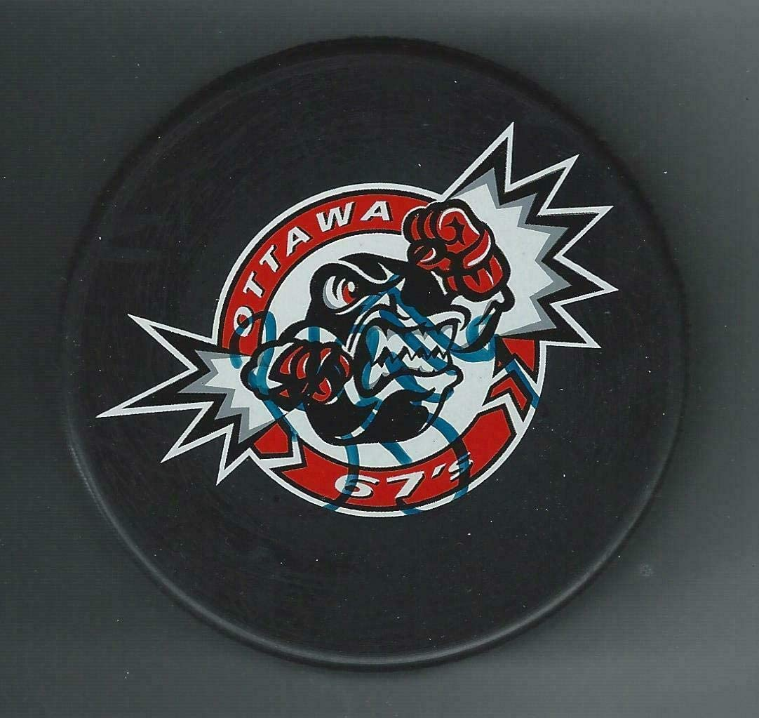 Brendan Bell Signed Ottawa 67's Puck New York Rangers - Autographed NHL Pucks