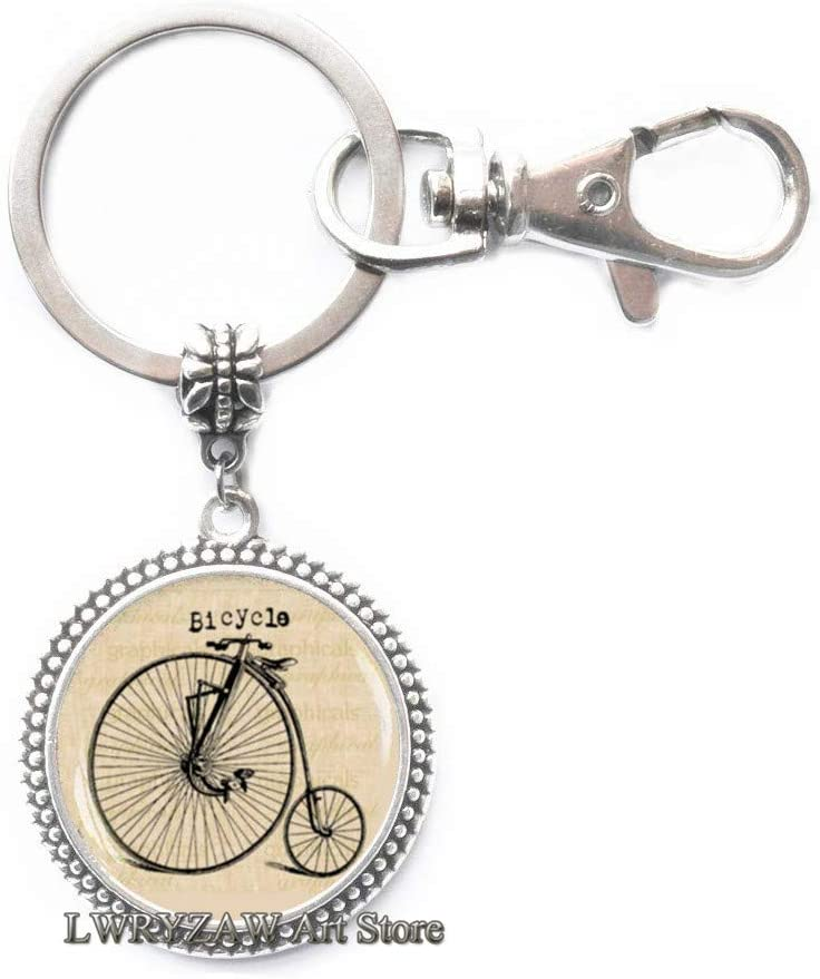 Bicycle Keychain, Hipster Style Bike Key Ring,Bicycle Jewelry, Old Bike Key Ring, Antique Bicycle Bike Photo Picture Keychain,M1