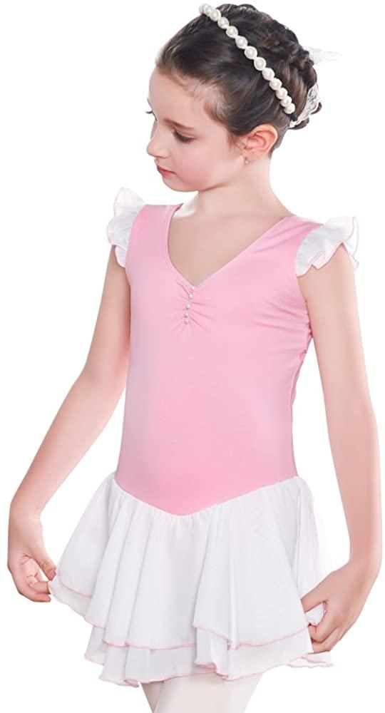 Girls' Basic Short Sleeve double Skirts Leotard