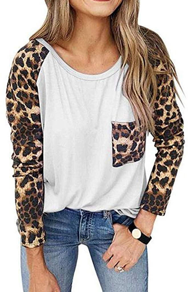 Women's Leopard Print Pullover Loose Tops Sweater Casual Blouse T-Shirt