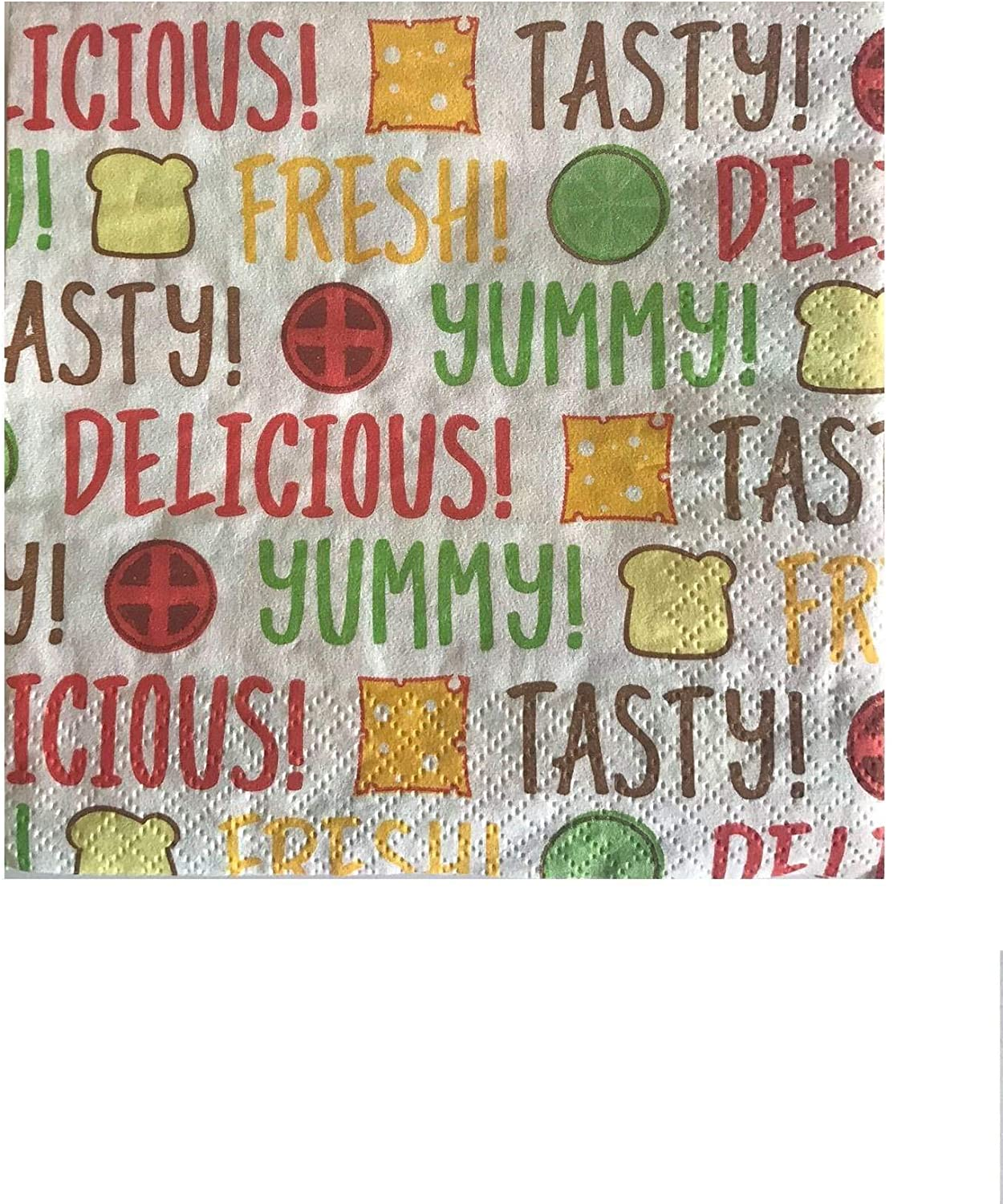 Summertime Paper Napkins for All Your BBQ Luncheons and Celebrations. Tasty, Delicious and Yummy! Pack of 16 (White/Delicious, 5