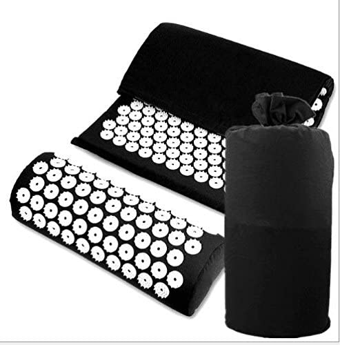 Emsems Acupressure Set Massage Mat and Pillow Bed of Nails Yoga Bed Mattress for Pain Relief Relieves Stress Back Neck Scalp and Wellness(black)