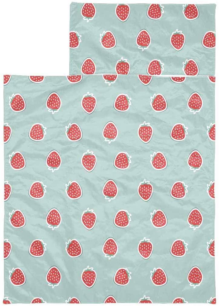 InterestPrint Lightweight Kids Slumber Bag for Hiking, Camping Strawberry Pattern