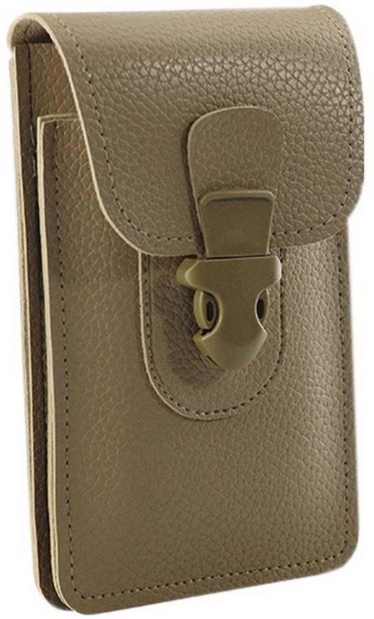 Gentle Meow Men's Outdoor Cell Phone Waist Bag PU Leather Smartphone Pouch Belt Pocket Khaki