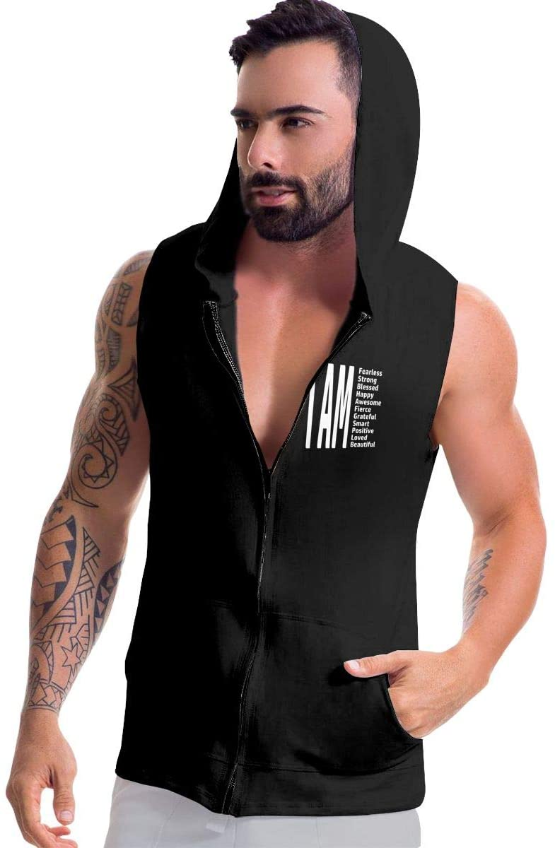 Jriakf I AM Fearless, I AM Strong, I AM Blessed Men's Sleeveless Pullover Hoodies Zip-up Hoodies Vest Muscle T with Pockets