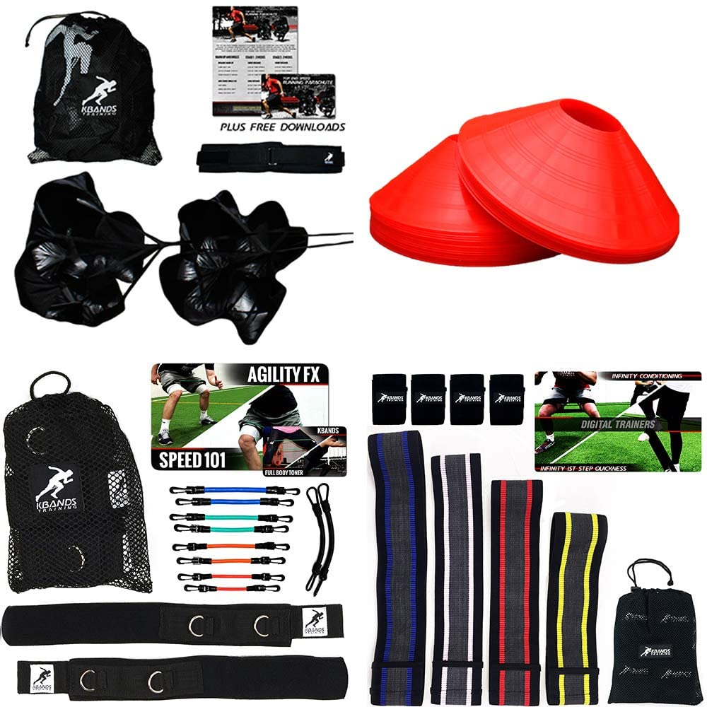 Kbands Athlete Variety Speed Package (Kbands Leg Bands, 10 Speed & Agility Cones, 4 Infinity Mini Loop Hip Bands, and Dual Running Parachutes)
