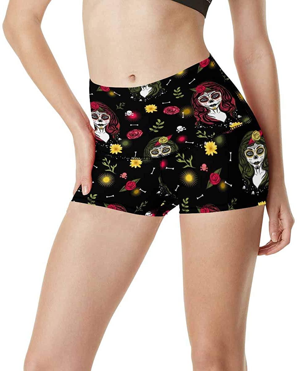 InterestPrint Novelty Design Womens Yoga Shorts High Waisted Workout Running Shorts
