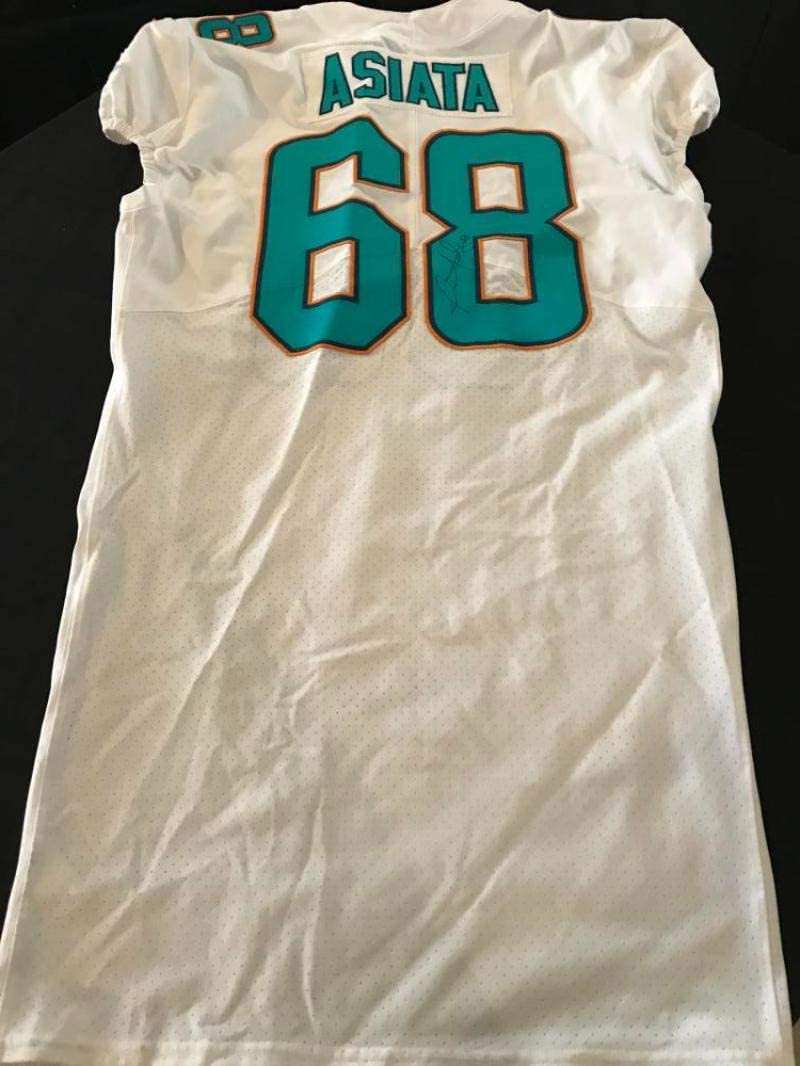 ISAAC ASIATA MIAMI DOLPHINS SIGNED GAME USED 2017 48 ONFIELD JERSEY W/COA