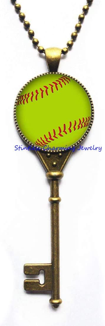 Baseball Key Necklace -Baseball Charm Key Necklace - Baseball Pendant - Baseball Jewelry - Baseball Key Necklace Women - Baseball Key Necklace-Art Glass Dome pendant-JV305