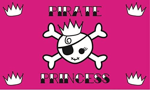 LastBu Pirate Princess Pink Flag - Beautiful Double-Stitched 100% Polyester w/Brass Grommets 3' x 5'