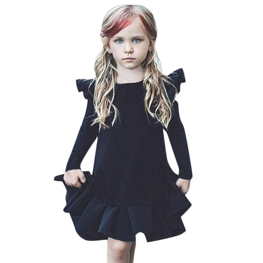 VonVonCo Toddler Infant Baby Skirts for Girls Long Sleeve Ruffles Dress Pure Princess Clothes Dress Dark Blue