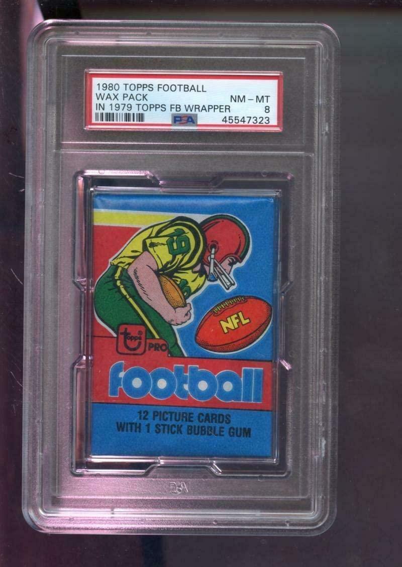 1980 Topps Football Card Unopened Wax Pack In 1979 Wrapper Graded 8 Locker - PSA/DNA Certified - Football Wax Packs