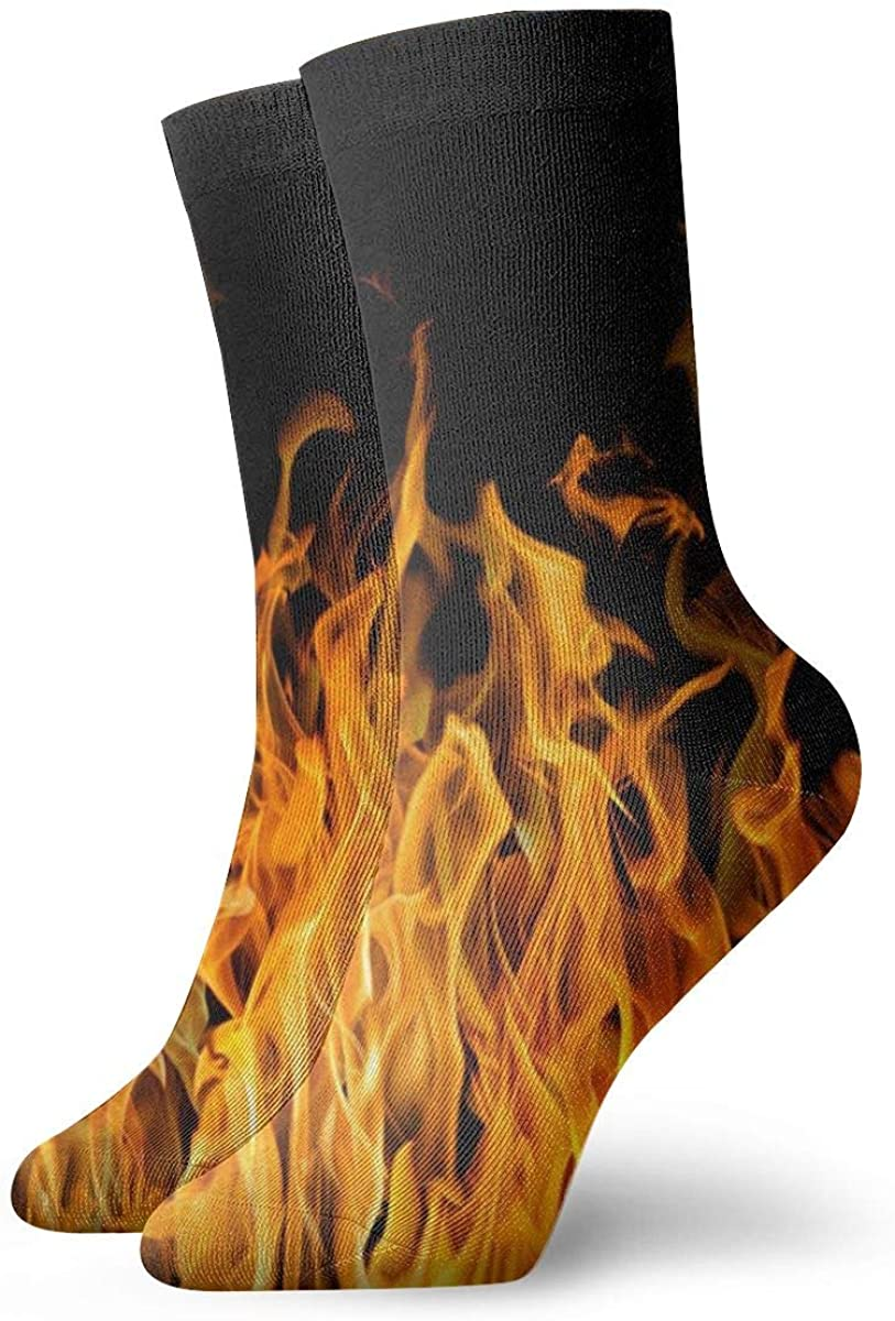Flame Pattern Performance Sock Athletic Crew Short Socks Outdoor Socks
