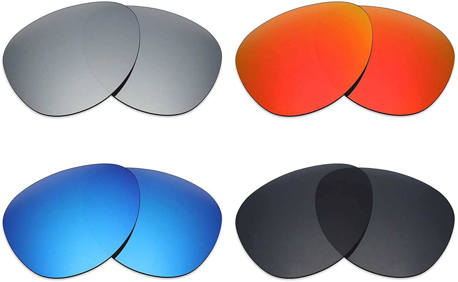Mryok 4 Pair Polarized Replacement Lenses for Oakley Elmont M Sunglass - Stealth Black/Fire Red/Ice Blue/Silver Titanium