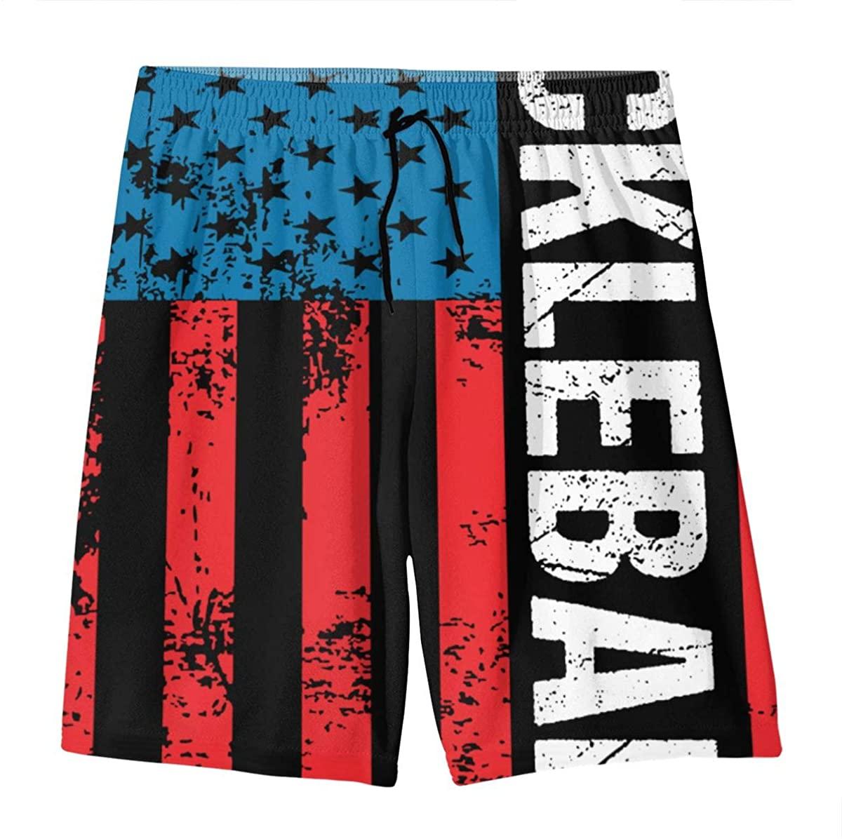 YOIGNG Pickleball Retro American Flag Teens Swim Trunks Beach Shorts Surfing Board Quick Dry Bathing Suit