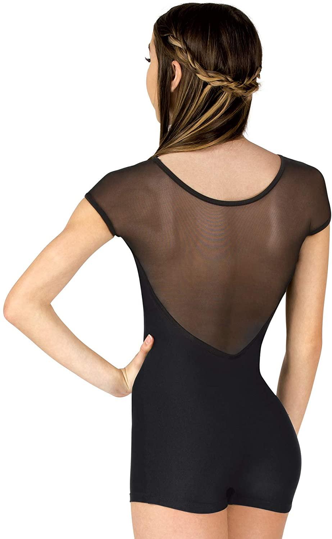 Womens Performance Mesh Cap Sleeve Shorty Unitard N7664